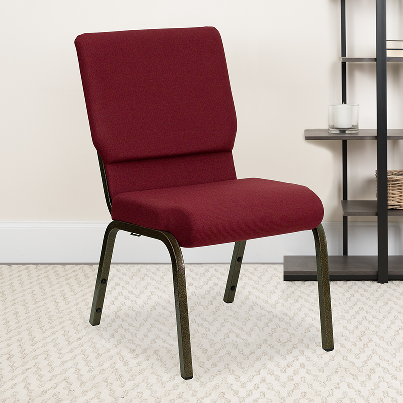 Burgundy Fabric Church Chair XU-CH-60096-BY-GG