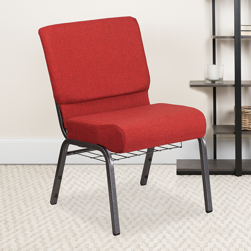 Crimson Fabric Church Chair FD-CH0221-4-SV-RED-BAS-GG