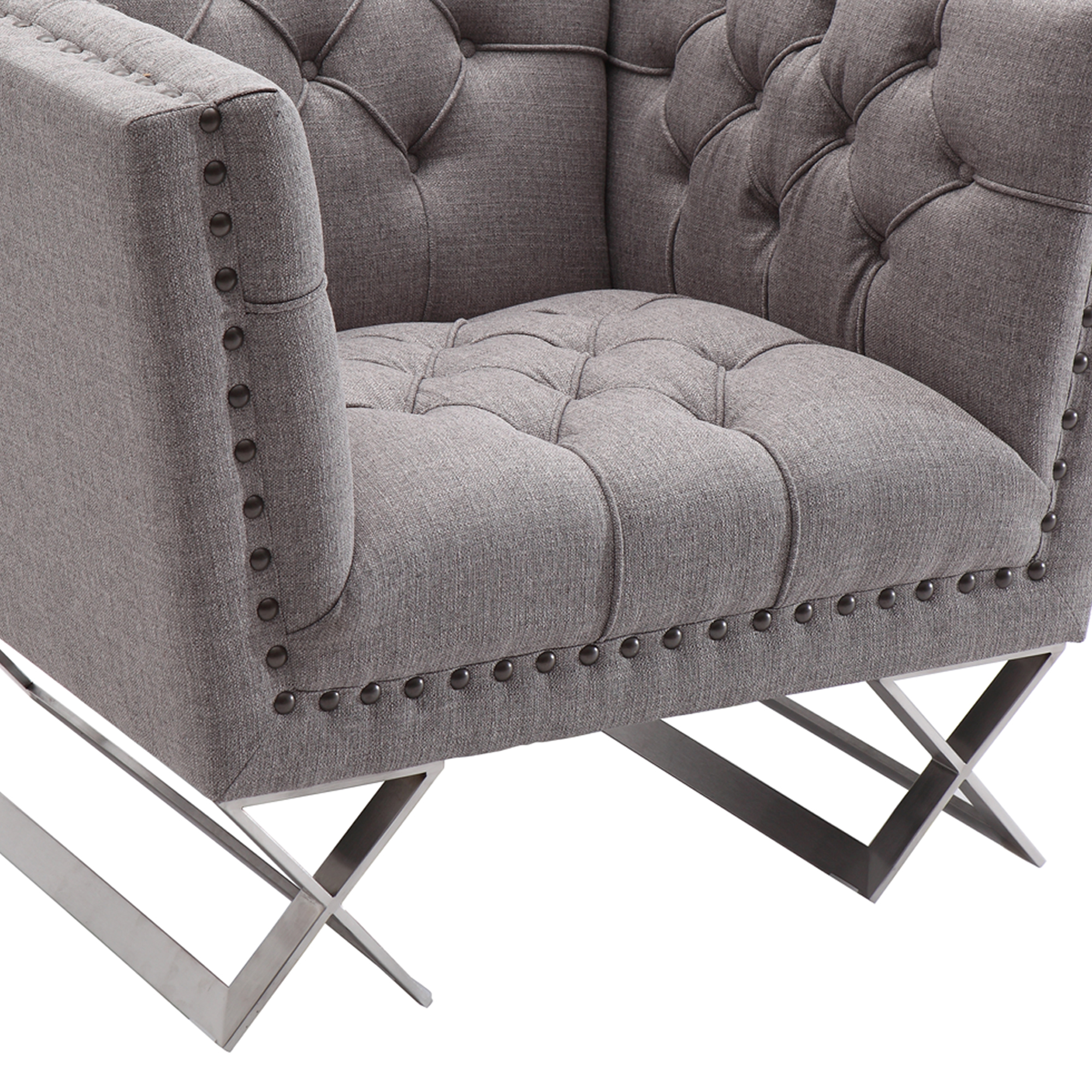 Armen Living Odyssey Sofa Chair in Brushed Stainless Steel finish with Grey Tweed and Black Nail heads