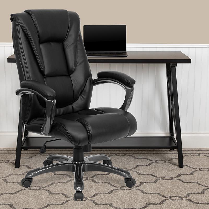 Black High Back Leather Chair GO-7194B-BK-GG