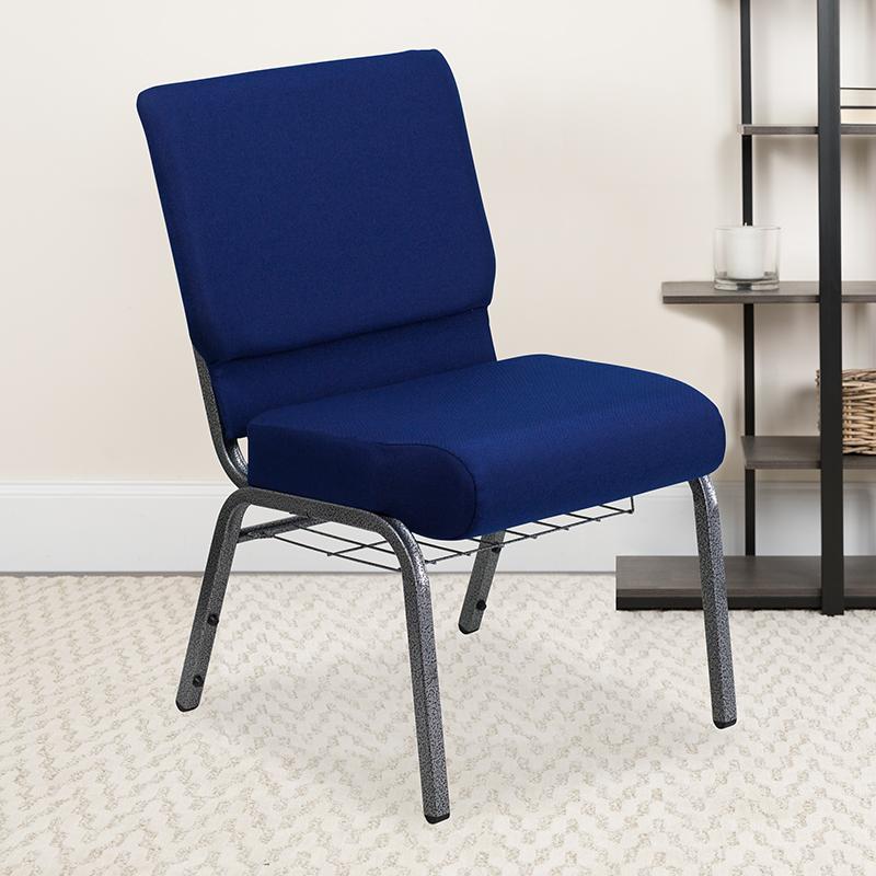 Navy Blue Fabric Church Chair FD-CH0221-4-SV-NB24-BAS-GG
