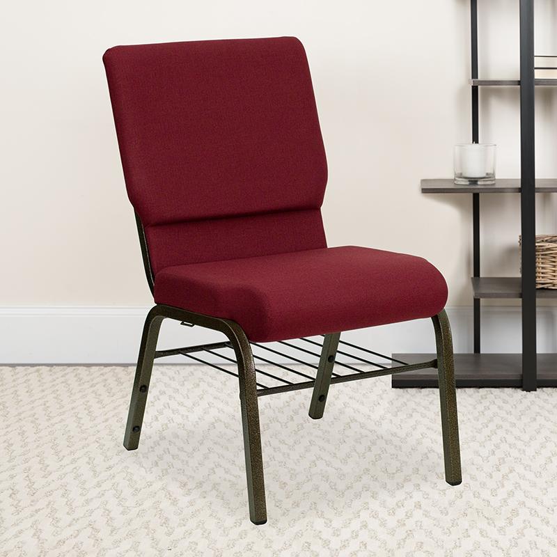 Burgundy Fabric Church Chair XU-CH-60096-BY-BAS-GG