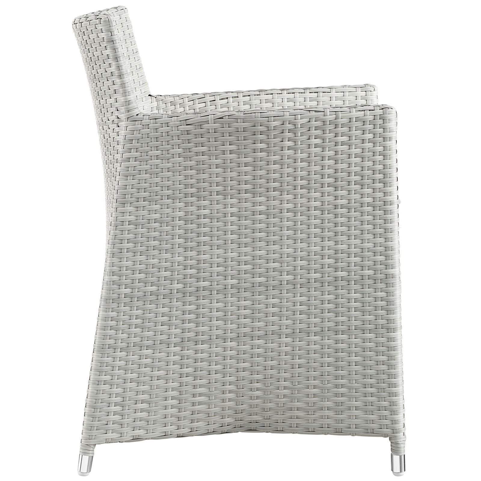 Junction Dining Outdoor Patio Armchair Gray White EEI-1505-GRY-WHI