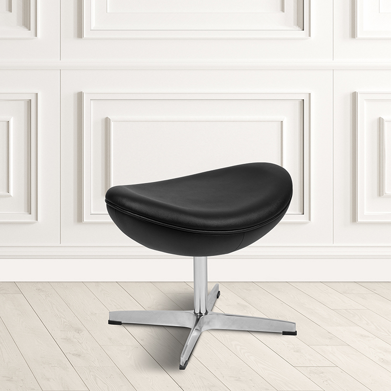 Black LeatherSoft Saddle Wing Ottoman [ZB-WING-BK-OTT-LEA-GG]