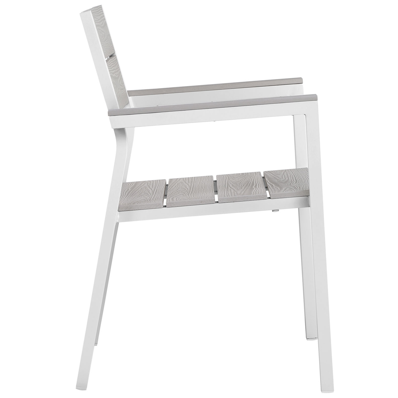 Maine Dining Outdoor Patio Armchair White Light Gray EEI-1506-WHI-LGR