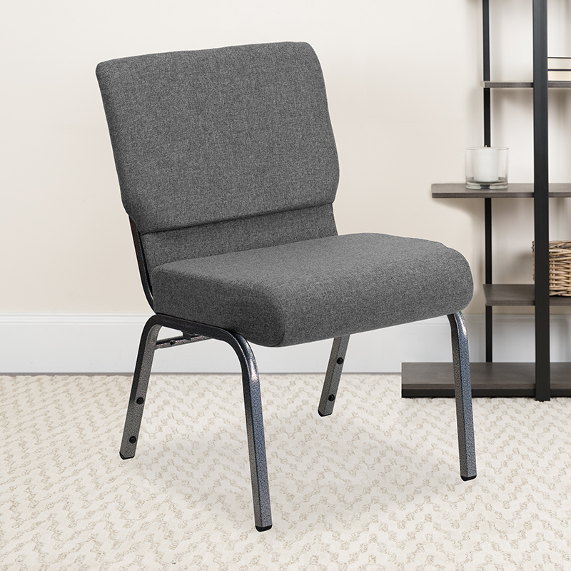 Gray Fabric Church Chair XU-CH0221-GY-SV-GG