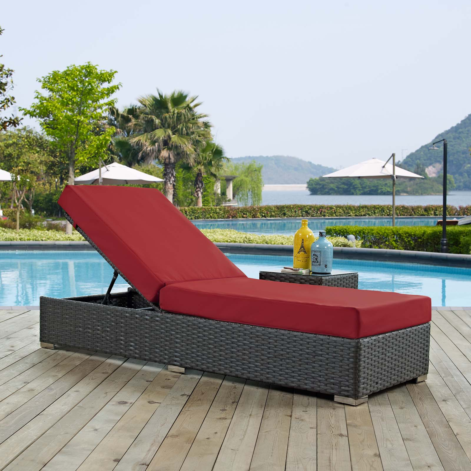 Sojourn Outdoor Patio Sunbrella Chaise Lounge Canvas Red EEI-1862-CHC-RED