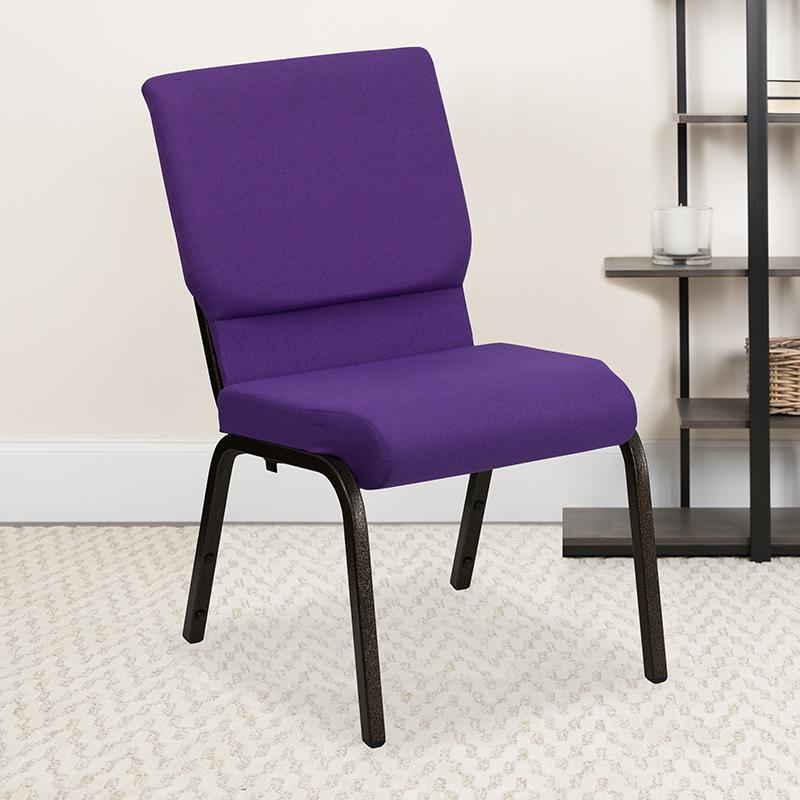 Purple Fabric Church Chair XU-CH-60096-PU-GG