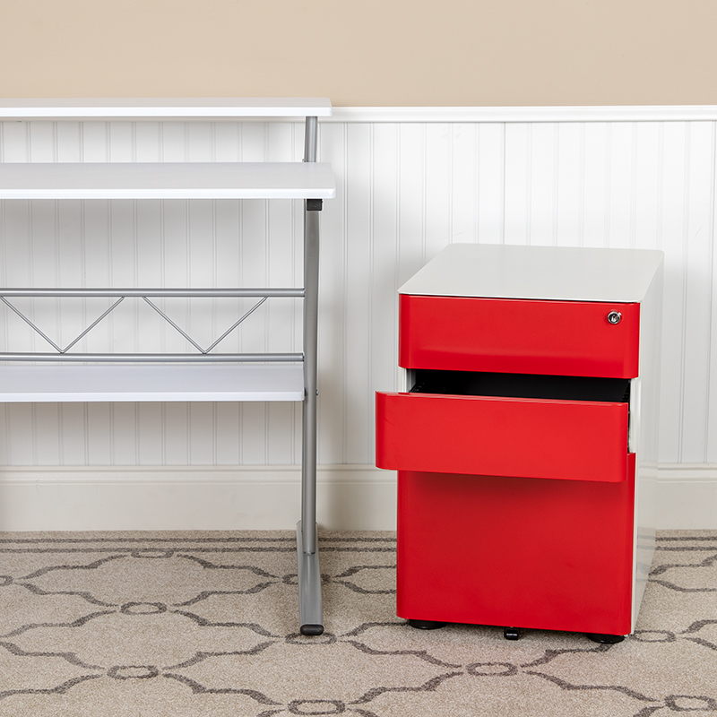 Drawer File Cabinet-White/Red HZ-CHPL-02-RED-WH-GG
