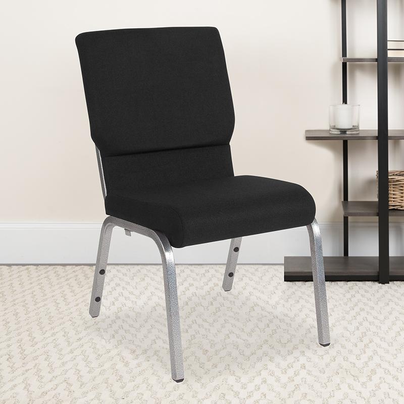 Black Fabric Church Chair XU-CH-60096-BK-SV-GG