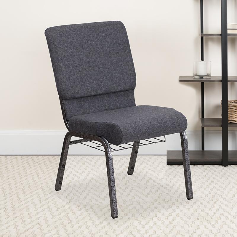 Dark Gray Fabric Church Chair FD-CH02185-SV-DKGY-BAS-GG