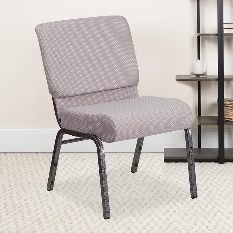 Gray Dot Fabric Church Chair FD-CH0221-4-SV-GYDOT-GG