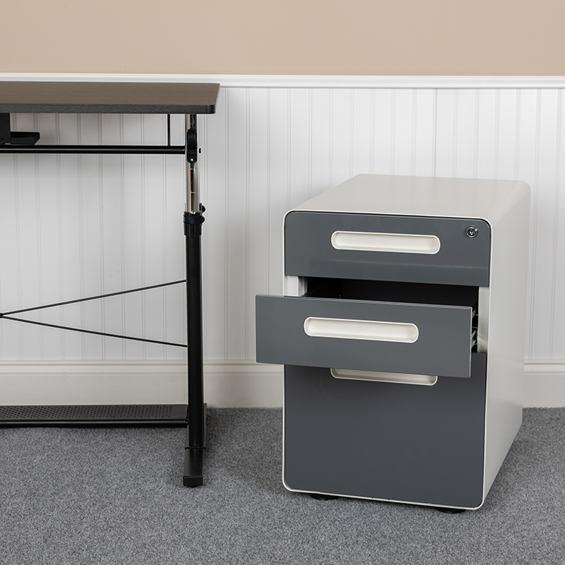 Filing Cabinet-White/Charcoal HZ-AP535-02-DGY-WH-GG