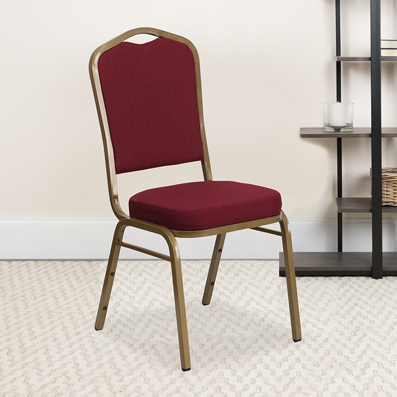 Burgundy Fabric Banquet Chair FD-C01-ALLGOLD-3169-GG