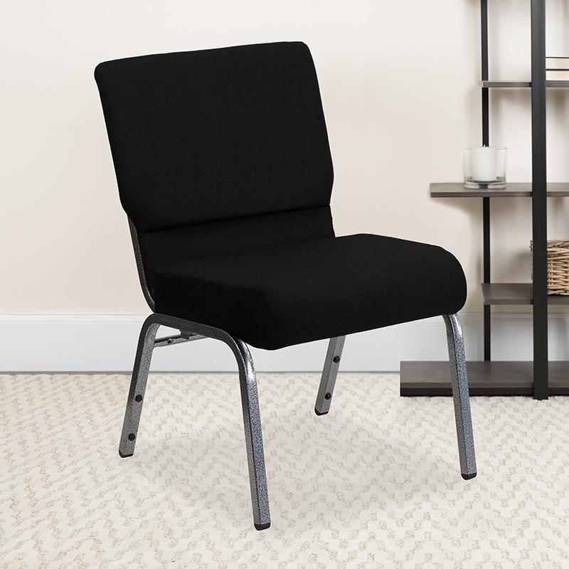 Black Fabric Church Chair XU-CH0221-BK-SV-GG